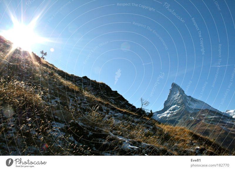 Matterhorn vs. Sonne Natur Baum Sonne Ferien & Urlaub & Reisen Herbst Berge u. Gebirge Freiheit Landschaft Ausflug Tourismus Schönes Wetter harmonisch eckig gigantisch Schweiz Matterhorn
