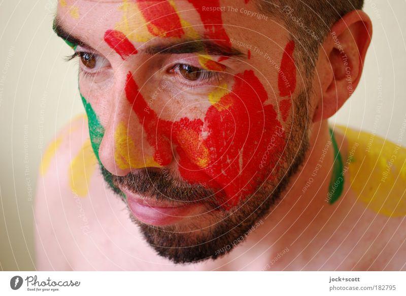 handgemaltes Porträt Gesicht Bart 30-45 Jahre Körpermalerei schwarzhaarig Vollbart Farbe Kreativität Sinnesorgane Vertrauen Detailaufnahme abstrakt