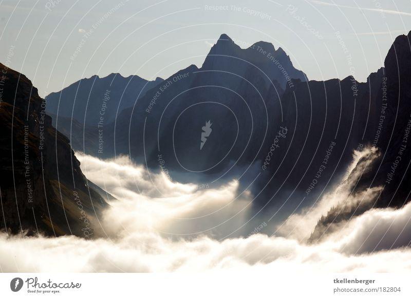 Klippen Natur weiß schwarz Wolken Berge u. Gebirge Stein Landschaft Luft Nebel Wind Umwelt Schweiz Alpen Gipfel Wetter Kanton Appenzell