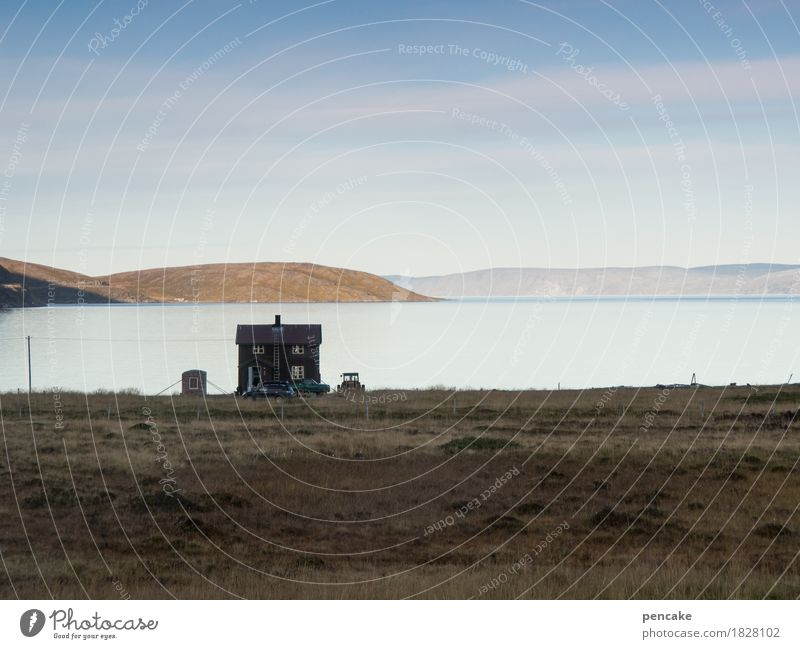 ende eines tages Himmel Natur nackt Wasser Landschaft Einsamkeit Haus Ferne Herbst Häusliches Leben Erde Schönes Wetter Urelemente Unendlichkeit kahl nordisch
