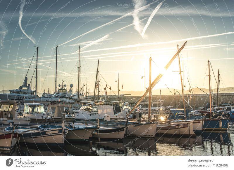Himmel Ferien & Urlaub & Reisen blau Sommer Sonne Meer Landschaft Strand Küste Tourismus Wasserfahrzeug Freizeit & Hobby Hafen Frankreich Reichtum reich