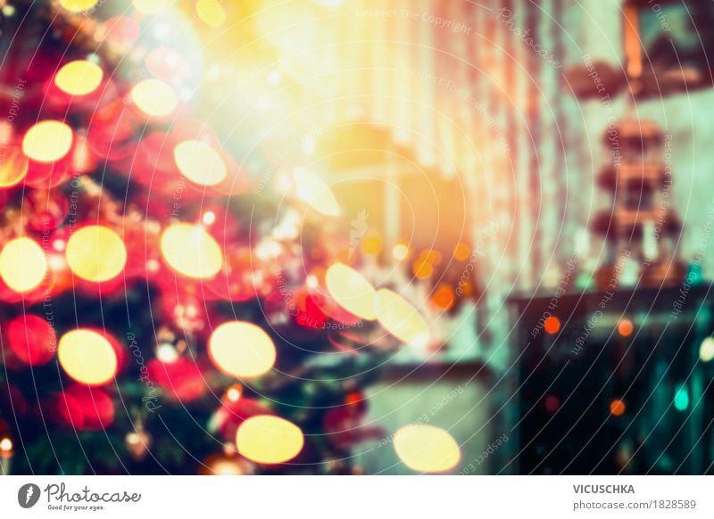 Zimmer mit Weihnachtsbaum und Bokeh Weihnachten & Advent schön Freude Winter Innenarchitektur Hintergrundbild Lifestyle Stil Feste & Feiern Design Wohnung Raum