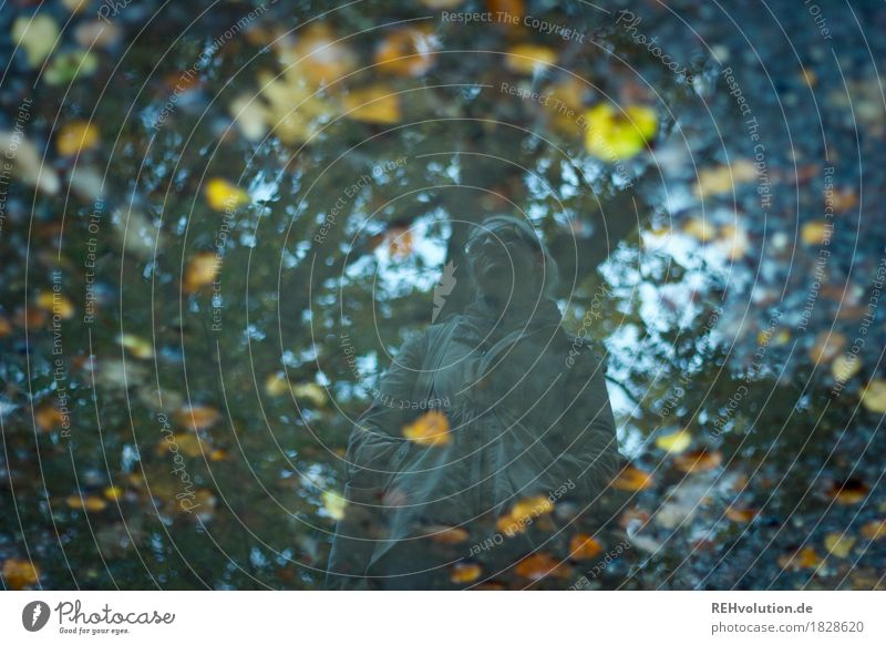 Jule | Pfützenspiegelung Mensch feminin Junge Frau Jugendliche 1 18-30 Jahre Erwachsene Umwelt Natur Landschaft Herbst Wetter schlechtes Wetter Regen Wald