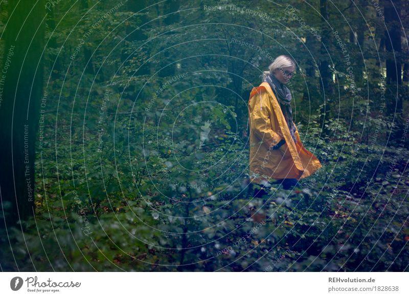 Julia | im Regenmantel Mensch Natur Jugendliche Pflanze Junge Frau Baum Landschaft Einsamkeit Wald 18-30 Jahre Erwachsene Umwelt Herbst natürlich feminin