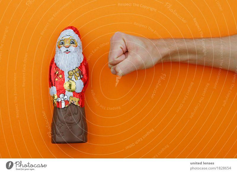 AKDR# Weihnachtsmuffel Kunst Kunstwerk ästhetisch Weihnachten & Advent Weihnachtsmann orange Schokolade Schokoladenbruch Konsum konsumgeil Vorfreude Faust
