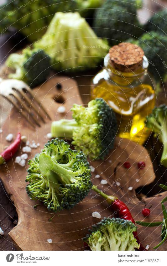 Frischer grüner Brokkoli und Gemüse Sommer Blatt gelb Essen Herbst natürlich Gesundheit frisch Tisch Kräuter & Gewürze Jahreszeiten Bauernhof Ernte Sammlung