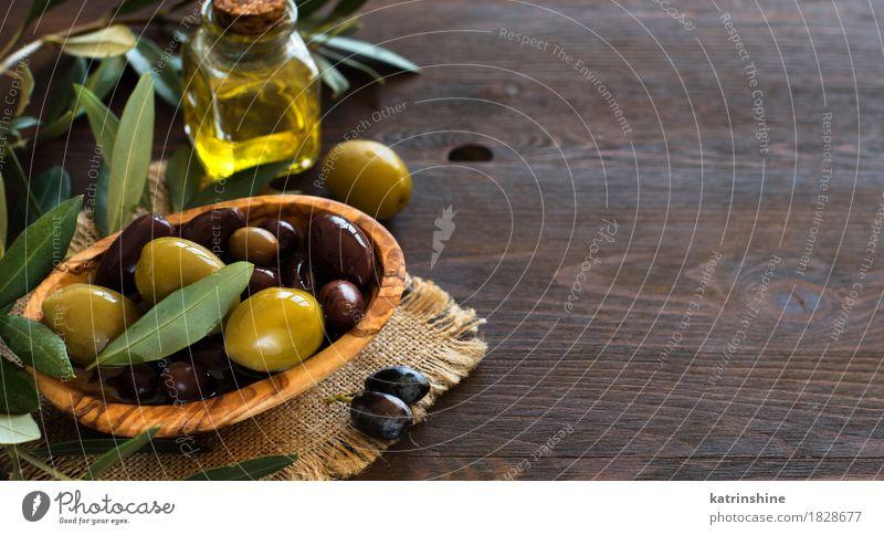 Olivenöl und Oliven Gemüse Öl Diät Italienische Küche Schalen & Schüsseln Flasche dunkel Gesundheit braun gelb grün Ast Komparse Geschmack Lebensmittel Glas
