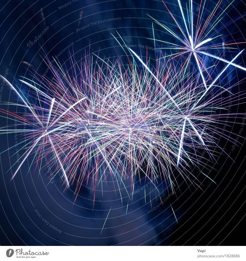 Blaues buntes Feuerwerk Himmel blau Weihnachten & Advent Farbe schön weiß rot dunkel schwarz Kunst Feste & Feiern Design rosa hell Dekoration & Verzierung