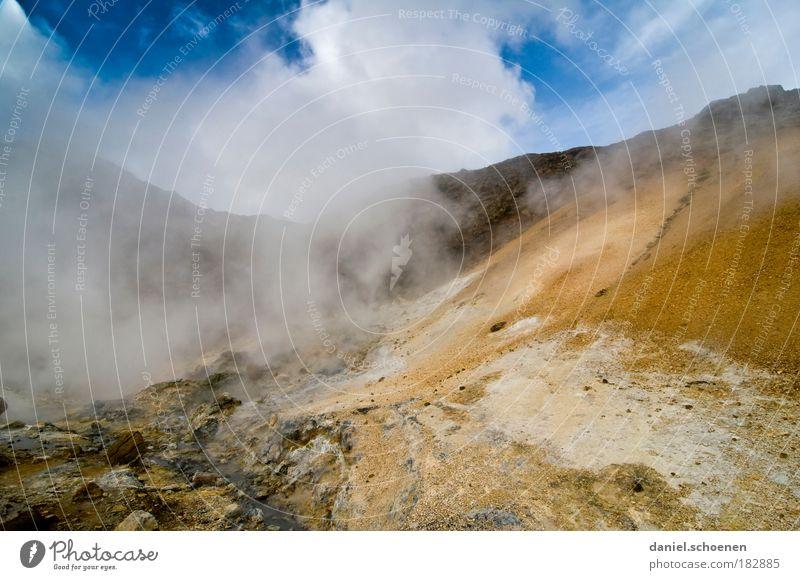 neulich im Vulkan Wolken Berge u. Gebirge Landschaft Umwelt Wärme Luft Erde Nebel Energie bedrohlich einzigartig Wandel & Veränderung Sturm Island Zerstörung