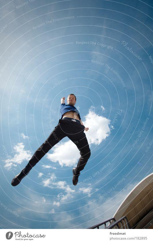 λ Mensch Mann Jugendliche Sommer Freude Erwachsene Gefühle Bewegung Glück springen Kraft elegant maskulin Erfolg Fröhlichkeit Coolness