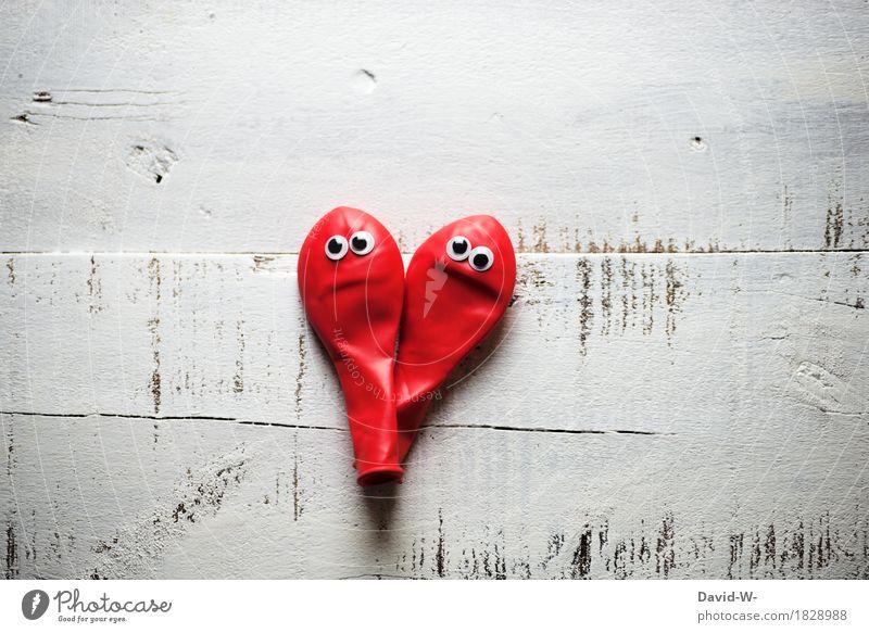 Die Luft ist raus Stil exotisch Leben Mensch Paar Kunst Denken Vertrauen Einigkeit Treue Sex Traurigkeit Liebeskummer Herz Auge grimmig Trennung Luftballon rot