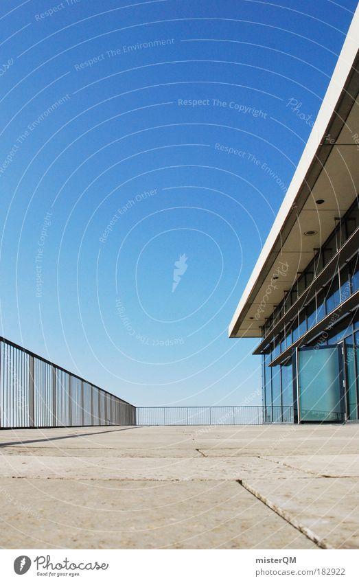 Open Doors. blau Haus Architektur Metall Kunst Tür Design modern ästhetisch Pause Zukunft Sitzung Kreativität Stahl Aussicht Geländer