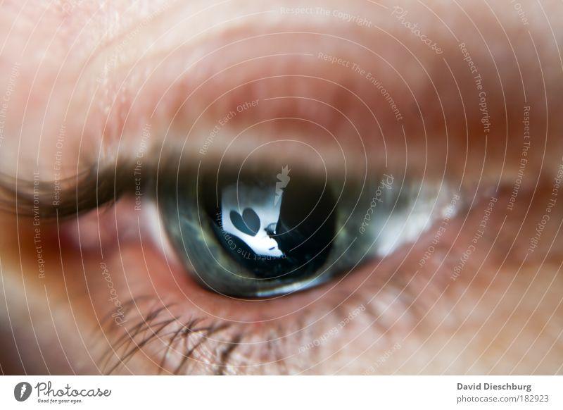 Liebeskummer Mensch blau grün Einsamkeit Auge Liebe Herz beobachten Sehnsucht Schmerz Verliebtheit Partnerschaft Reflexion & Spiegelung Liebeskummer Wimpern Spiegelbild