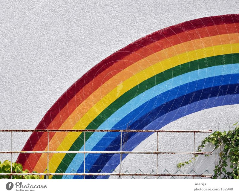Regnbogn Freude Garten Geburtstag Kindergarten Klima Wetter Mauer Wand Graffiti leuchten Freundlichkeit Fröhlichkeit schön Glück Zufriedenheit Lebensfreude