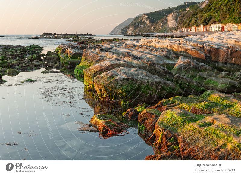 Das Passetto schaukelt bei Sonnenaufgang, Ancona, Italien Ferien & Urlaub & Reisen Tourismus Strand Meer Natur Landschaft Himmel Horizont Schönes Wetter Felsen