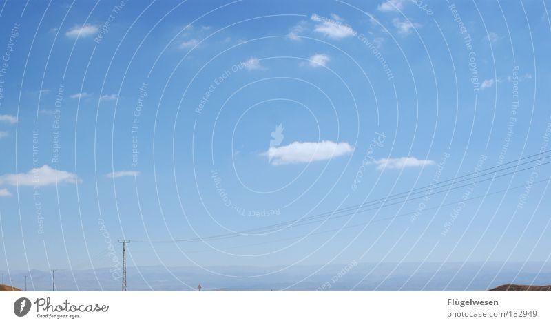 himmel und äd Himmel Ferien & Urlaub & Reisen Sonne Freude Wolken Berge u. Gebirge Gefühle Glück frei Strommast himmelblau Israel Jordanien Negev