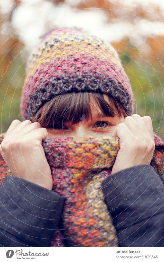 AKDR# Herbstwetter II Mensch feminin Junge Frau Jugendliche Erwachsene Haut Gesicht 1 30-45 Jahre Kunst Kunstwerk ästhetisch Wetter kalt Wetterschutz Klima