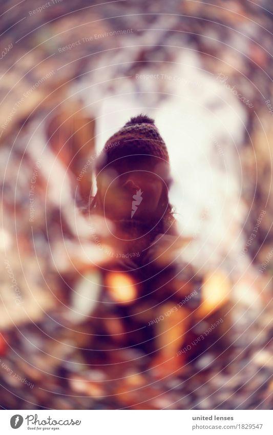 AKDR# Schau mal... Herbst Lifestyle Kunst ästhetisch schlechtes Wetter kalt Pfütze Reflexion & Spiegelung Mütze herbstlich Herbstlaub Herbstfärbung Herbstwald