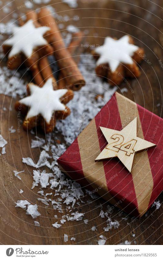 AKCGDR# Pack mich aus! Kunst Kunstwerk ästhetisch 24 Geschenk Weihnachten & Advent Dekoration & Verzierung Zimtstern Holz Holztisch Postkarte Dezember Vorfreude