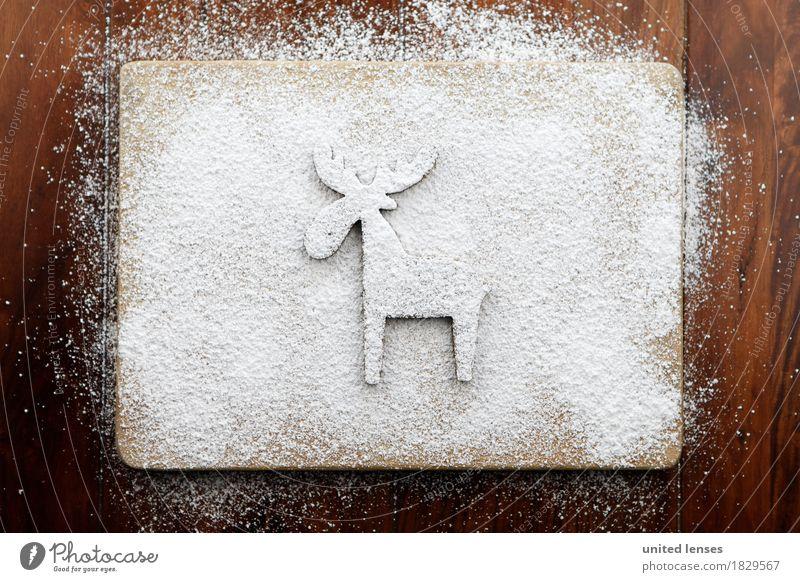 AKCGDR# Rentierspur Kunst ästhetisch Figur Weihnachten & Advent Dekoration & Verzierung Puderzucker Holzbrett Küche Kunstschnee Kreativität Farbfoto mehrfarbig