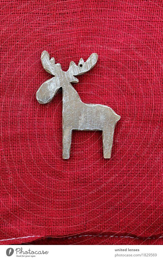 AKCGDR# Schau mal nen Rentier! Kunst Kunstwerk ästhetisch Weihnachten & Advent rot Dekoration & Verzierung Strukturen & Formen Holzschmuck Horn Postkarte