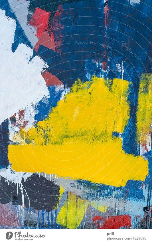 colorful painted wall Handwerk Kunst Mauer Wand Gefühle farbe bemalt Pinselstrich ausschnitt Rest formatfüllend schäbig lebhaft rau gemälde Zufall malen färben