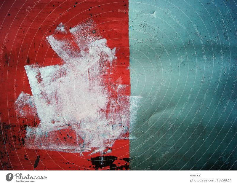 Öl auf Blech Kunst Kunstwerk Gemälde Metall glänzend trashig verrückt wild blau rot türkis weiß Farbstoff Farbenspiel abstrakte Kunst Kratzer Spuren Abnutzung