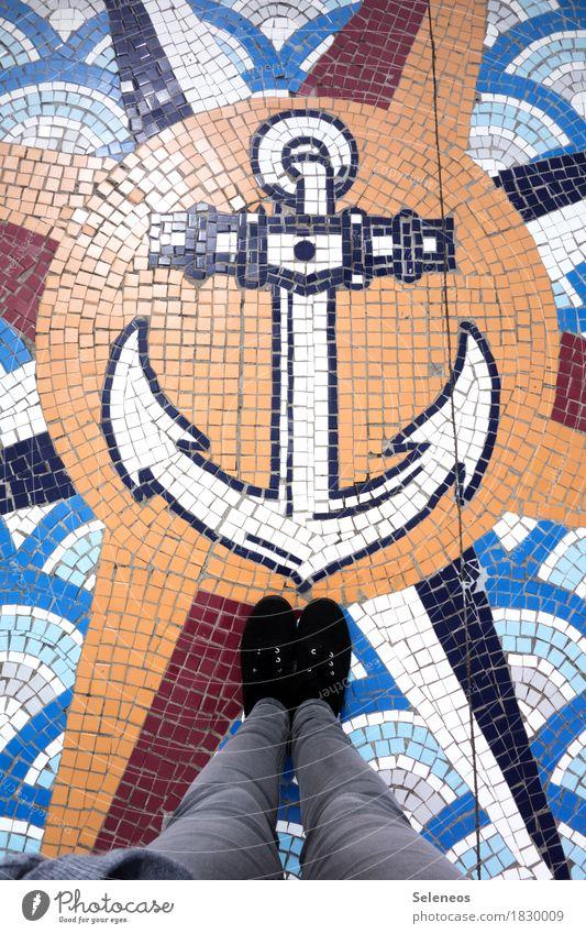 Ahoi Ferien & Urlaub & Reisen Meer Ferne Beine Freiheit Fuß Ausflug Abenteuer Sehnsucht Fernweh Schifffahrt maritim Kreuzfahrt Mosaik Kompass Anker