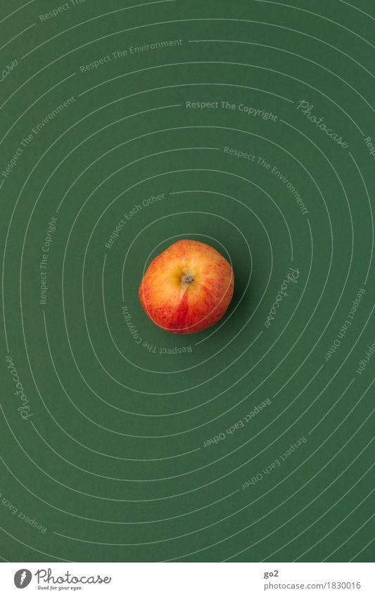 Apfel Lebensmittel Frucht Ernährung Bioprodukte Vegetarische Ernährung Diät Fasten Gesundheit Gesunde Ernährung einfach lecker rund saftig grün rot Farbfoto