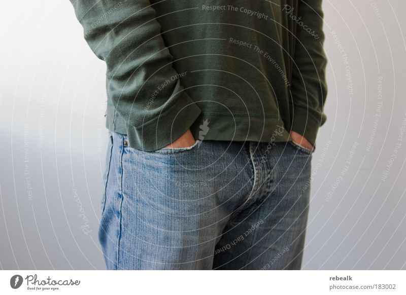 Taschenbillard Mensch Hand Erholung Arbeit & Erwerbstätigkeit maskulin Kraft Erfolg warten Coolness Jeanshose Gelassenheit Mut frieren Karriere selbstbewußt