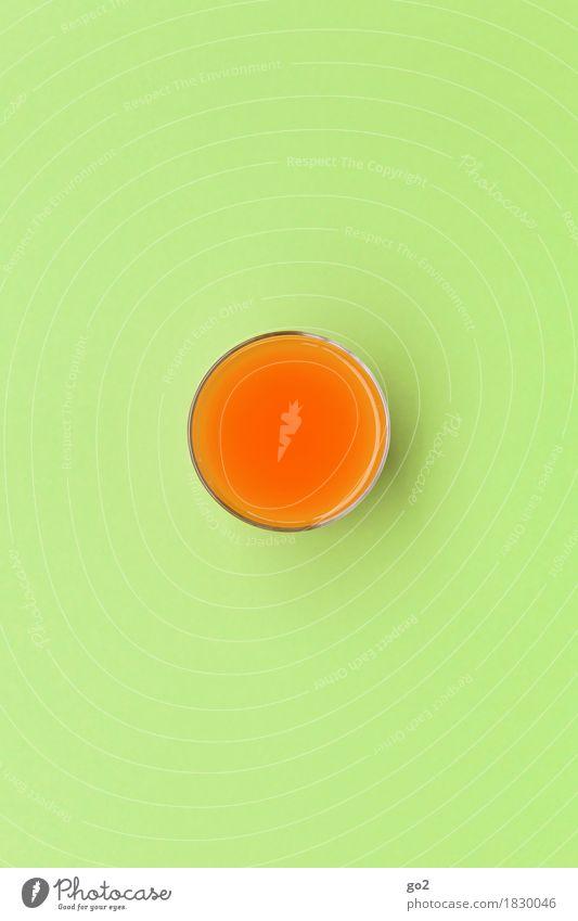 Glas Saft grün Gesunde Ernährung Leben Gesundheit orange Design Glas ästhetisch rund Getränk trinken Wellness lecker Diät Fasten saftig