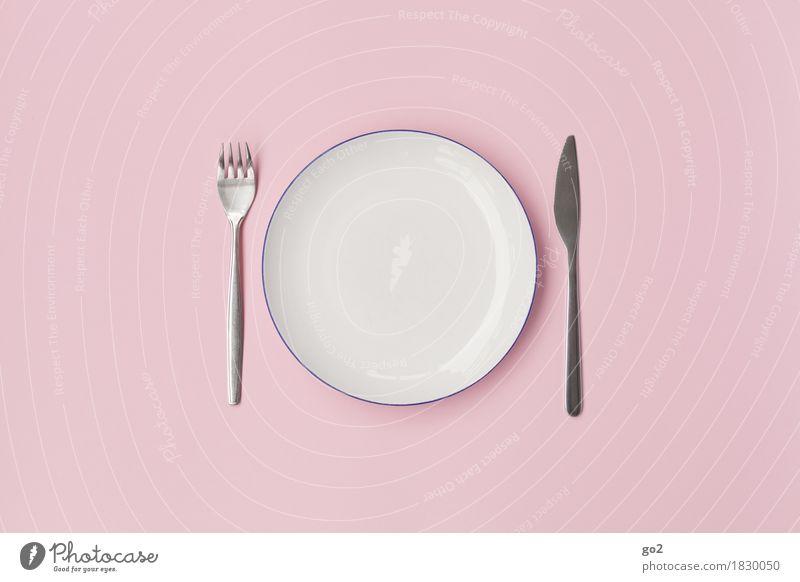 Leerer Teller Ernährung Essen Frühstück Mittagessen Abendessen Diät Fasten Geschirr Besteck Messer Gabel Küche Koch ästhetisch rund rosa weiß bescheiden