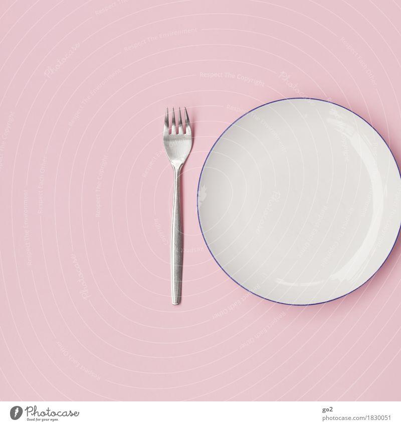 Leerer Teller Ernährung Frühstück Mittagessen Abendessen Gabel ästhetisch einfach rund rosa weiß bescheiden zurückhalten sparsam leer Appetit & Hunger Farbfoto