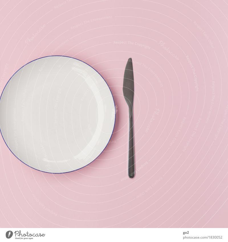 Teller und Messer weiß rosa Ernährung ästhetisch leer Geschirr Diät Besteck sparsam