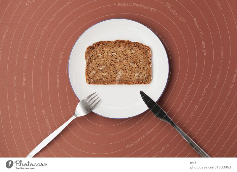 Bescheidene Mahlzeit Gesunde Ernährung weiß Essen Lebensmittel braun einfach Bioprodukte Frühstück Geschirr Brot Teller Backwaren Abendessen Messer Diät