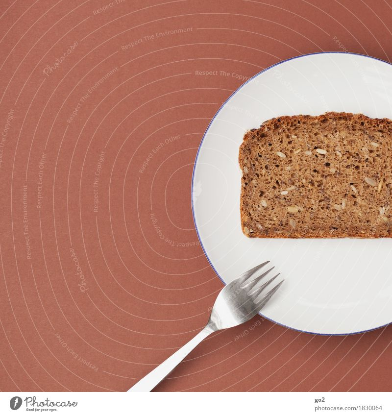 Brot Lebensmittel Teigwaren Backwaren Ernährung Essen Frühstück Diät Geschirr Teller Besteck Gabel Gesunde Ernährung ästhetisch einfach braun weiß bescheiden