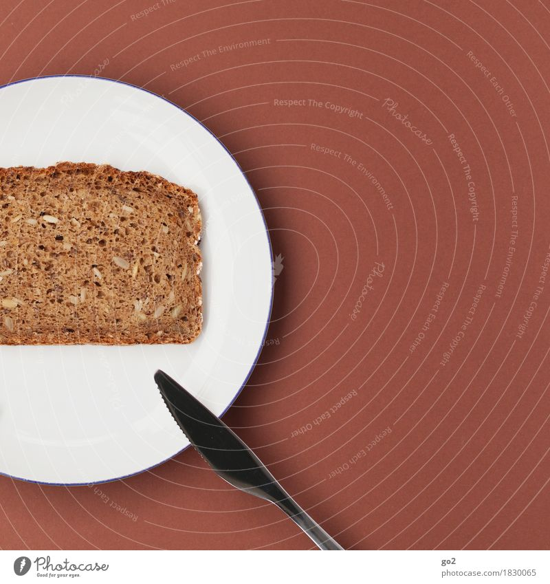 Brot Lebensmittel Teigwaren Backwaren Ernährung Frühstück Bioprodukte Diät Fasten Teller Messer Gesunde Ernährung einfach Gesundheit lecker braun weiß
