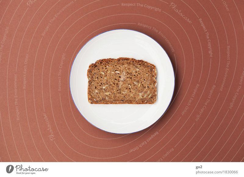 Teller und Brot Lebensmittel Teigwaren Backwaren Ernährung Essen Frühstück Bioprodukte Vegetarische Ernährung Diät Fasten einfach braun weiß bescheiden