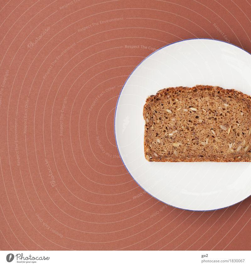 Scheibe Brot Gesunde Ernährung weiß Essen Gesundheit Lebensmittel braun Ernährung einfach rund lecker Frühstück Brot Teller Diät Fasten bescheiden