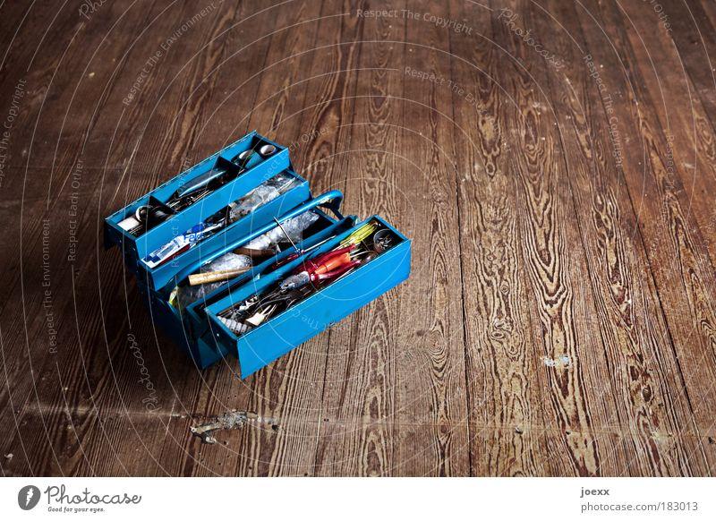 To Do Wohnung Renovieren Umzug (Wohnungswechsel) Raum Wohnzimmer Werkzeug Hammer Holz Metall Arbeit & Erwerbstätigkeit alt blau braun rot Tatkraft