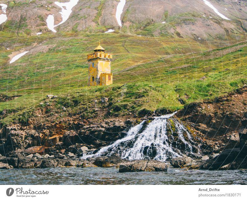 Island - Siglufjörður Natur Landschaft Pflanze Wasser Schnee Wiese Hügel Felsen Berge u. Gebirge Wellen Küste Bucht Fjord Insel Wasserfall Leuchtturm alt