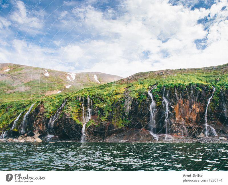 Wasserfälle Himmel Natur Ferien & Urlaub & Reisen Pflanze blau grün Wasser Meer Landschaft Wolken Berge u. Gebirge Wiese Küste Schnee Felsen Tourismus