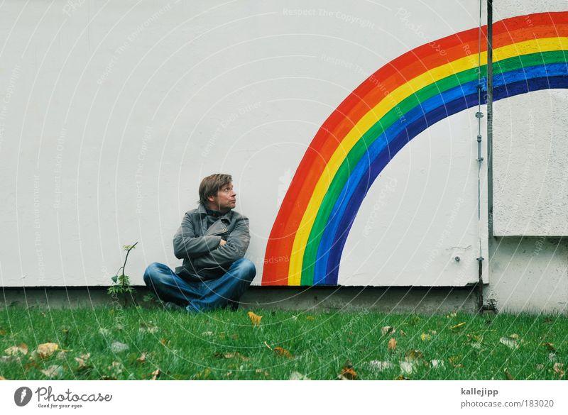 im wunderland Mensch Himmel Mann Natur Erwachsene Wiese Umwelt Freiheit Graffiti Garten Religion & Glaube Linie Regen Kunst Wetter Horizont