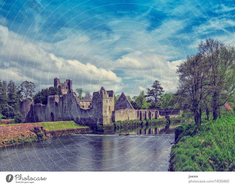 Adare Desmond Castle Tourismus Himmel Fluss Republik Irland Burg oder Schloss Ruine Mauer Wand Sehenswürdigkeit Denkmal alt historisch blau grün Idylle