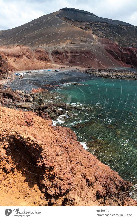 Rauhes Land Natur Ferien & Urlaub & Reisen Sommer Meer Landschaft Strand Küste Tourismus Wasserfahrzeug Ausflug Insel Klima Abenteuer Vergänglichkeit Bucht Spanien