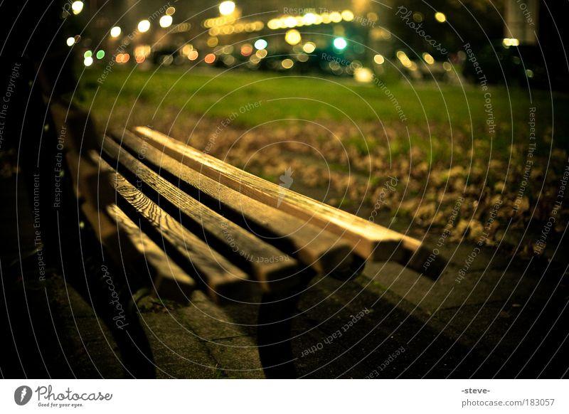 Herbstabend grün Blatt dunkel Park braun gold Bank Herbstlaub Parkbank