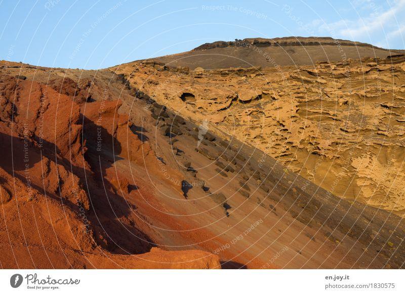 Landschaftsformen Natur Erde Sand Himmel Klimawandel Felsen Vulkan Schlucht Wüste blau gelb orange bizarr Surrealismus Verfall Vergänglichkeit Zeit Zerstörung