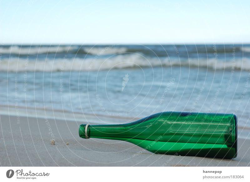 leerpost Meer grün Strand Einsamkeit Traurigkeit warten Vergänglichkeit Flasche Verpackung