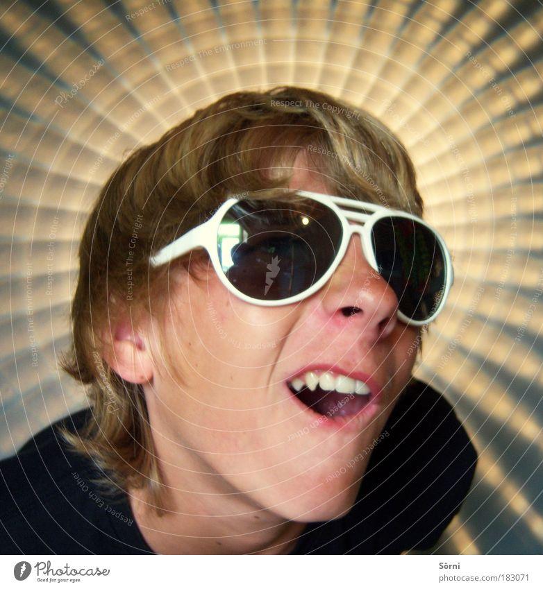 Knorke Mensch Jugendliche Freude Gesicht Porträt Leben Spielen Stil Denken Stimmung Kindheit Freizeit & Hobby blond Mund glänzend