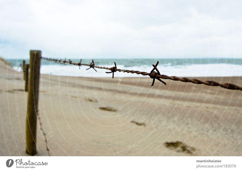 Fence Außenaufnahme Menschenleer Textfreiraum oben Textfreiraum unten Tag Dämmerung Kontrast Sand Himmel Wolken Strand Meer Zaun Stacheldrahtzaun kalt Photocase
